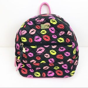 Luv Betsey Black Quilted Lips Backpack
